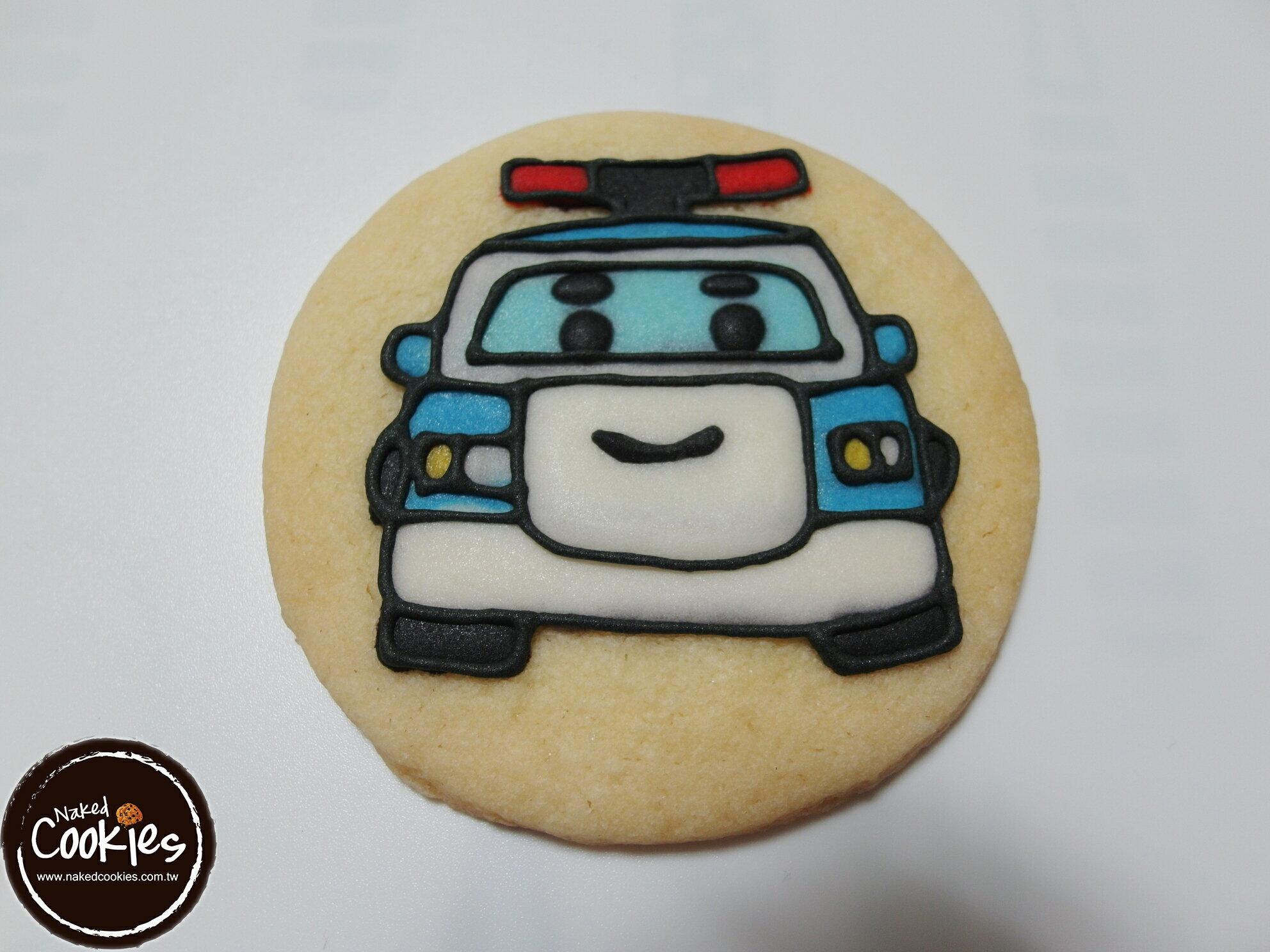 【裸餅乾Naked Cookies】POLI波力(藍)主題-特殊客製6入-創意手工糖霜餅乾,婚禮/生日/活動/收涎/彌月