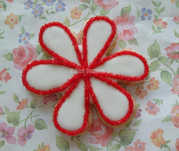 【裸餅乾Naked Cookies】水晶花朵(紅)-特殊客製6入-創意手工糖霜餅乾,婚禮/生日/活動/收涎/彌月