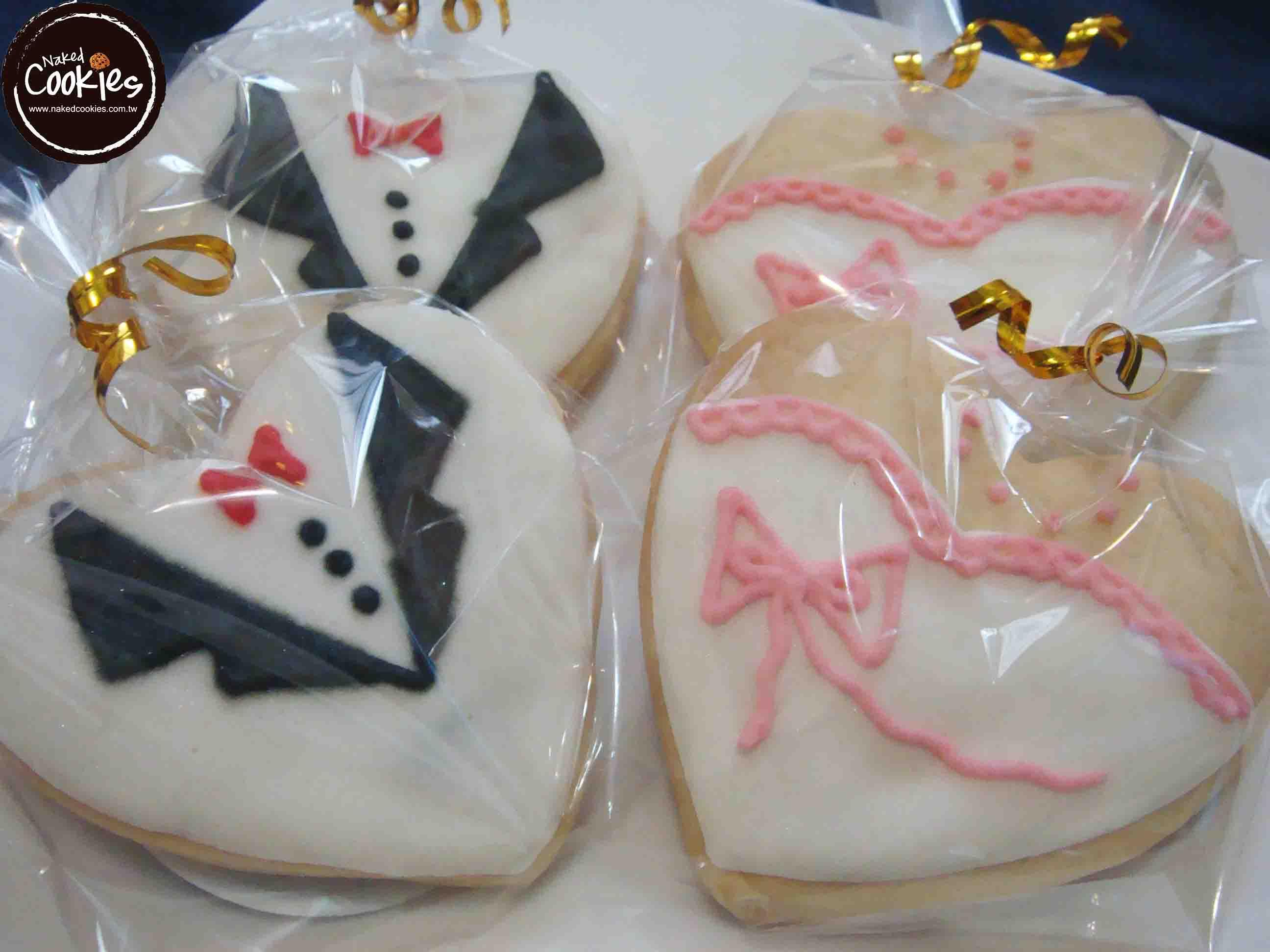 【Naked Cookies】婚禮婚紗白西裝款-創意手工糖霜餅乾,婚禮/生日/活動/收涎/彌月