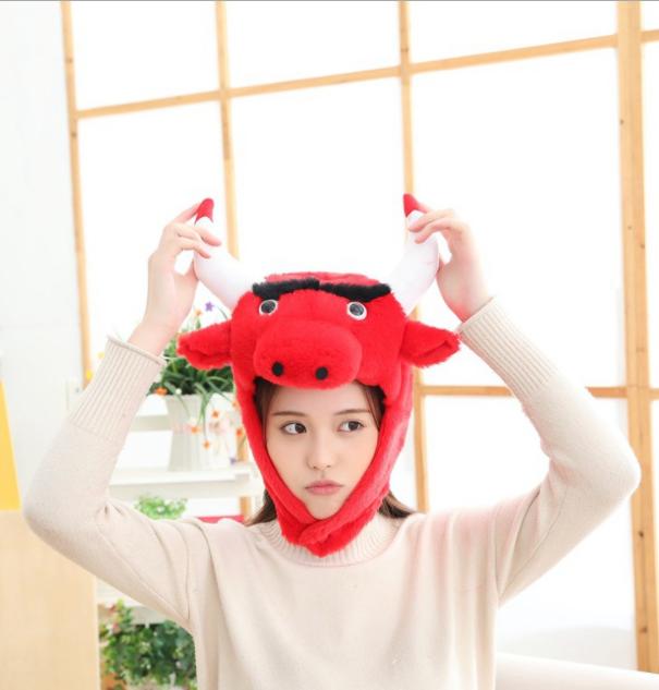 東區派對-動物帽/乳牛帽/牛帽子/牛頭套/紅色牛帽子/紅牛造型帽