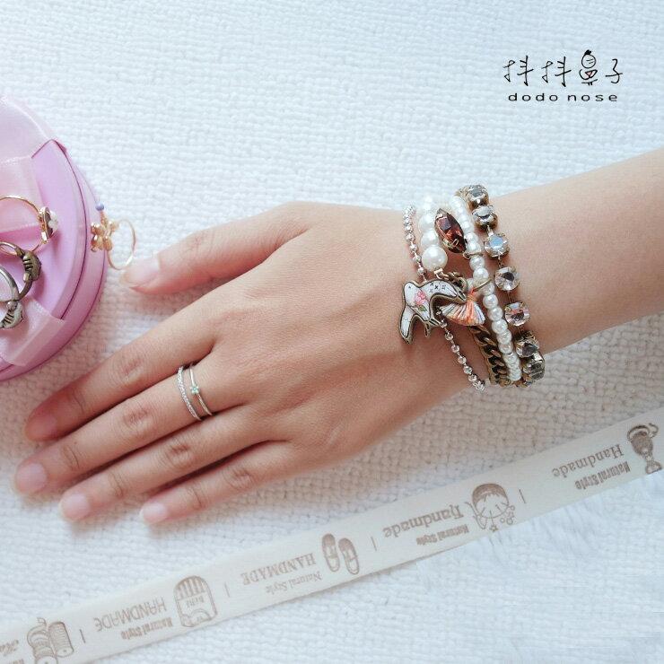 韓國手鍊 浪漫珍珠玫瑰白鳥|手鍊
