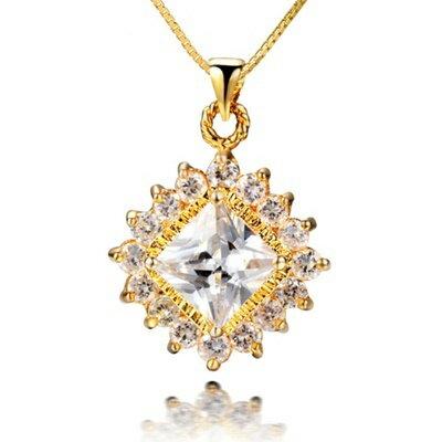 925純銀項鍊 水晶吊墜~ 奢華獨特閃耀情人節生日 女飾品4色73fh22~ ~~米蘭 ~
