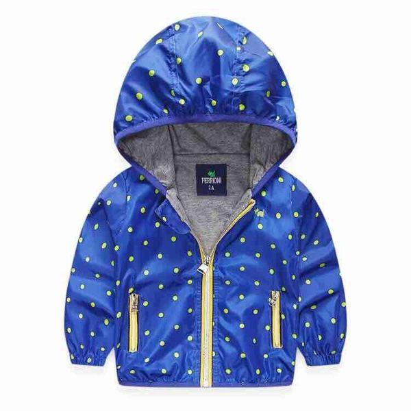 EMMA商城^~兒童藍色點點連帽輕量風衣薄外套
