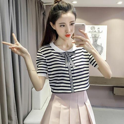 短袖針織衫 甜美可愛蝴蝶結繫帶領針織上衣 3色~T~17~0094~LYNNSHOP
