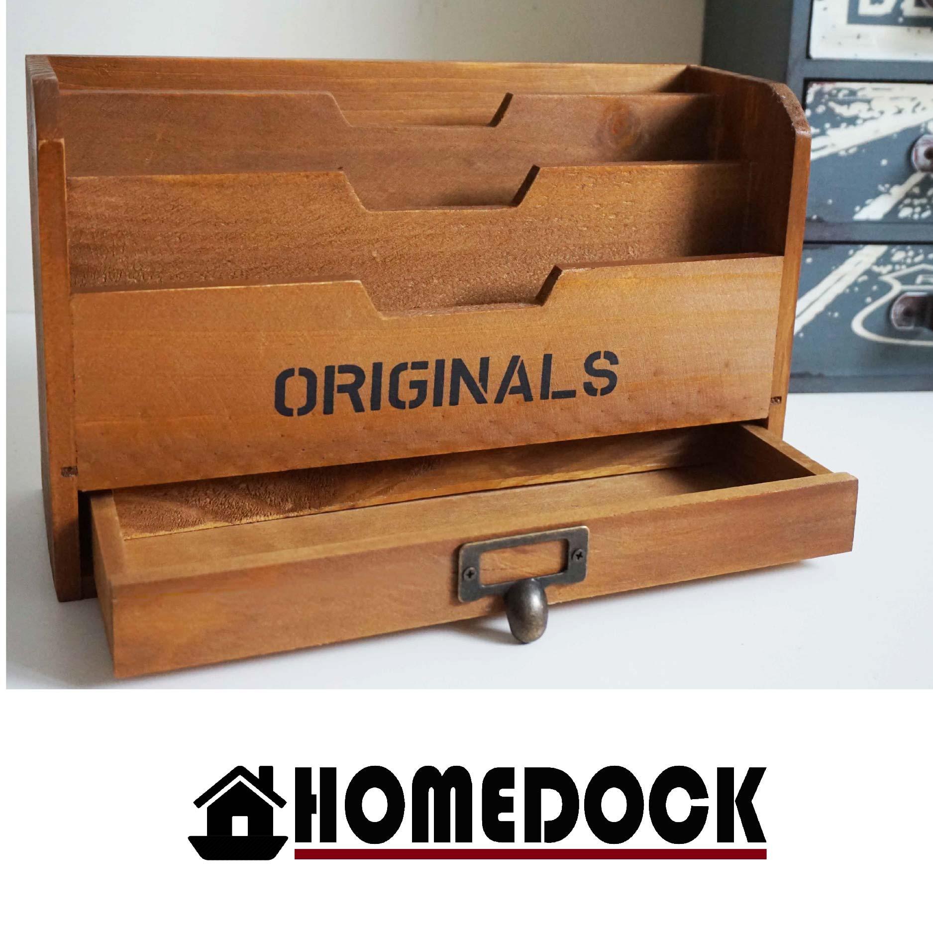 HOMEDOCK-原木質感辦公桌明信片/名片收納盒 /木櫃/置物櫃/Zakka/雜貨/原木製/層格櫃/抽屜/雙層