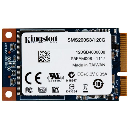Kingston SSDNow mS200 mSATA 120GB SSD Mini-SATA SATA III 6Gb/s MLC Internal Solid State Drive SMS200S3/120G