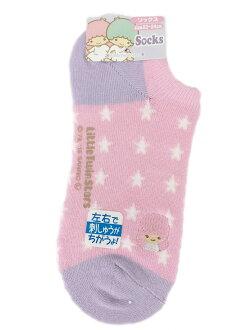 【真愛日本】16032800004 踝襪-電繡星星紫 三麗鷗家族 Kikilala 雙子星 居家 短襪 襪子