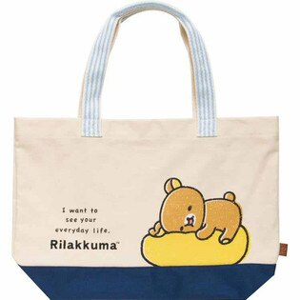 日本進口San-X拉拉熊帆布包手提包大容量包包肩背包《正版Rilakkuma》★夢想家Zakka'fe★
