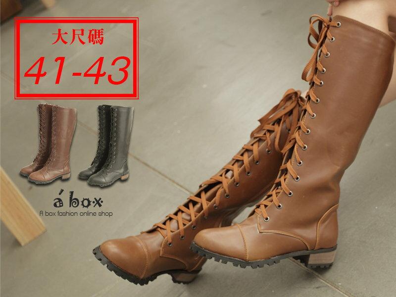 【KH2011G】41~43加大碼 日韓潮流 高質感綁帶拉鍊馬汀長靴 機車靴 三色現貨 - 限時優惠好康折扣