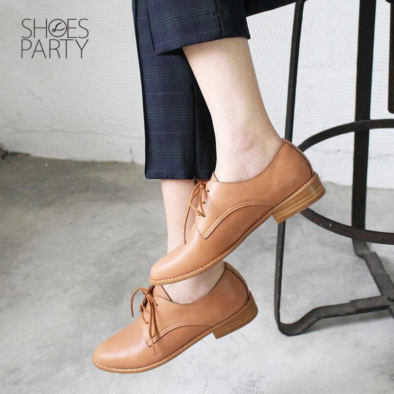 【C2-18715L 】經典真皮綁帶德比鞋_Shoes Party 2
