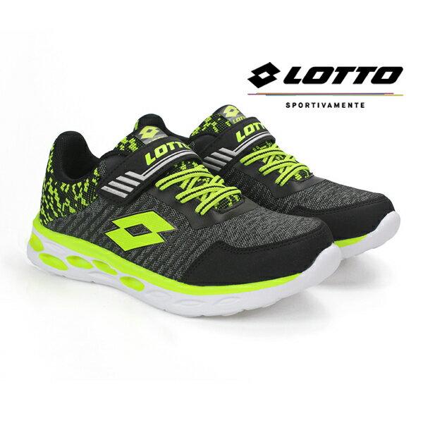 【巷子屋】義大利第一品牌-LOTTO男童SUPERLIGHTZERO零重力輕量跑鞋[6350]黑超值價$872免運