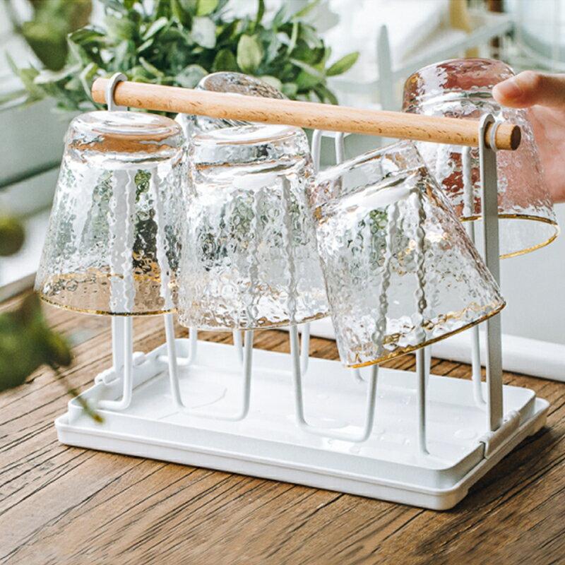 水杯倒掛掛架 居里生活 玻璃杯架水杯掛架瀝水置物架創意家用收納杯架倒掛6340『XY10135』