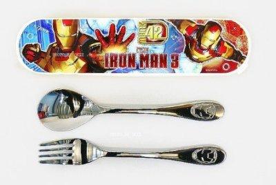 MARVEL 鋼鐵人湯匙+叉子+盒組 (韓國製造/304不銹鋼)
