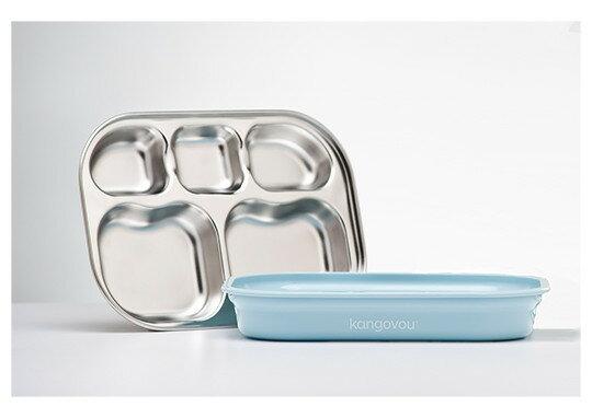 【本月限時品牌9折】美國【Kangovou】小袋鼠不鏽鋼安全分隔餐盤-野莓藍 - 限時優惠好康折扣
