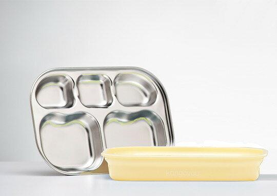 美國【Kangovou】小袋鼠不鏽鋼安全分隔餐盤-檸檬黃 - 限時優惠好康折扣