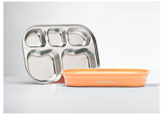 美國【Kangovou】小袋鼠不鏽鋼安全分隔餐盤-奶油橘 - 限時優惠好康折扣