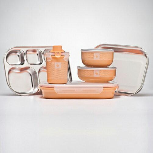 【贈NUK防水圍兜X2】美國【Kangovou】小袋鼠不鏽鋼安全餐具組-奶油橘  (贈精美禮盒+紙袋) 1
