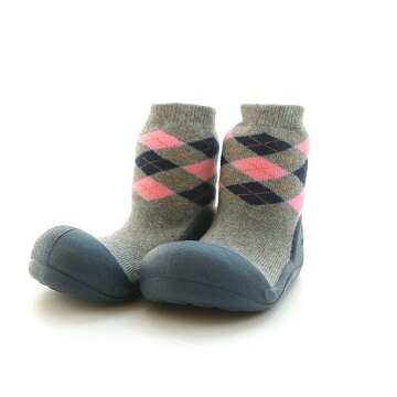 【本月特價$599】韓國【Attipas】快樂腳襪型學步鞋-菱格紋系列(灰) - 限時優惠好康折扣