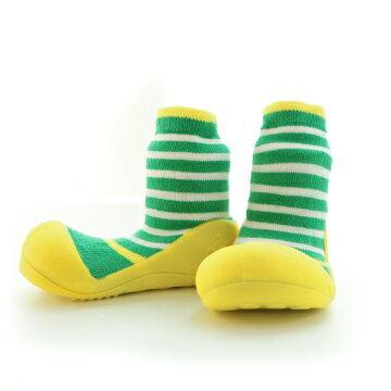 【本月特價$599】韓國【Attipas】快樂腳襪型學步鞋-圈圈系列(黃綠) - 限時優惠好康折扣