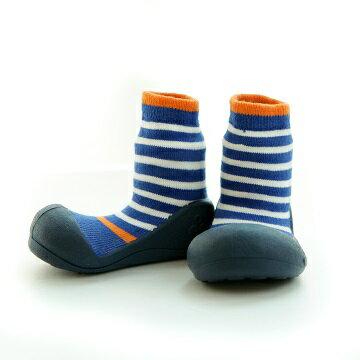 【本月特價$599】韓國【Attipas】快樂腳襪型學步鞋-圈圈系列(海藍) - 限時優惠好康折扣