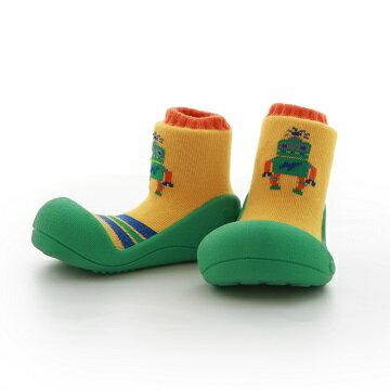 【本月特價$599】韓國【Attipas】快樂腳襪型學步鞋-機器人系列(綠底) - 限時優惠好康折扣