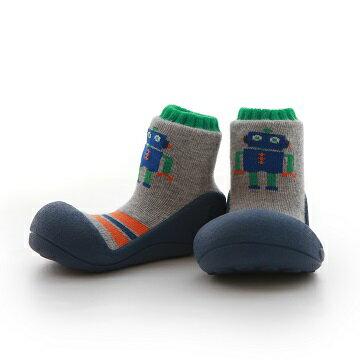 【破盤平均1雙$545起】韓國【Attipas】快樂腳襪型學步鞋-機器人系列(藍底)