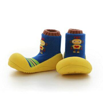 【本月特價$599】韓國【Attipas】快樂腳襪型學步鞋-機器人系列(黃底) - 限時優惠好康折扣