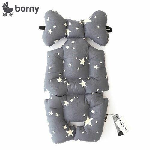 【限量送NUK嬰兒洗衣精60ml】韓國【 Borny 】 全身包覆墊(推車、汽座、搖椅適用) (灰星星) - 限時優惠好康折扣