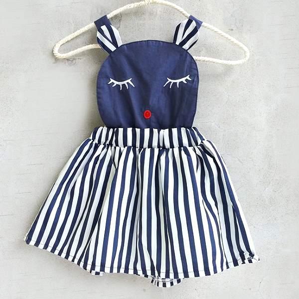~班比納 ~晚安熊直條紋吊帶裙~藍白~BO150622052~