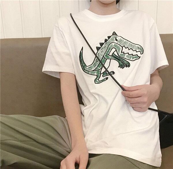 T恤卡通刺繡百搭學院風短袖T恤上衣【MYH280】BOBI0621