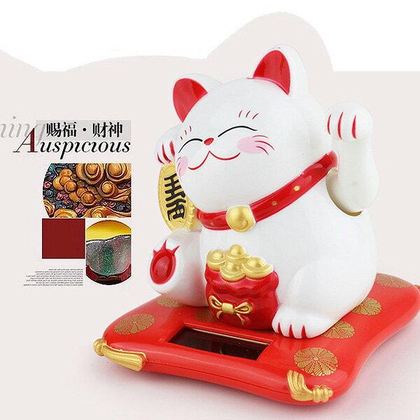 【好運連年】會招手的白色福氣招財貓 可當汽車擺飾 (太陽能動力) MLY23001