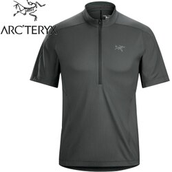 Arcteryx 始祖鳥/登山排汗衣/短袖半門襟排汗衣 透氣控溫吸濕 18272 Velox 男款 傑納斯灰