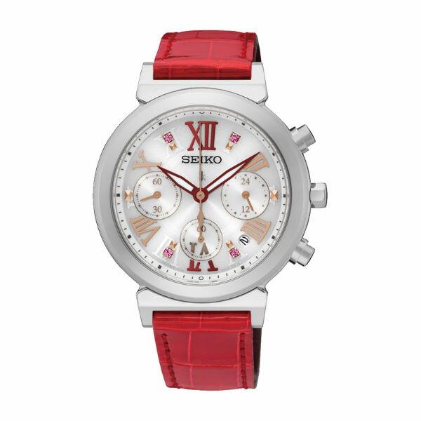 SeikoLukiaV175-0DR0R(SSC851J1)艷紅羅馬太陽能計時腕錶白面36mm