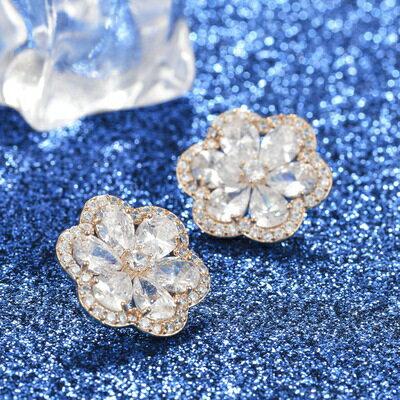 ~925純銀耳環鑲鑽耳飾~可愛唯美花朵 生日情人節 女飾品4色73hz105~ ~~米蘭