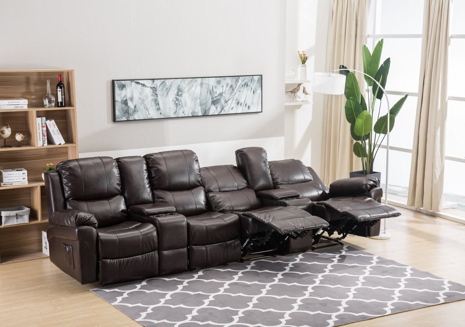 mcombo: Mcombo Brown 4-Seat Leather Home Theater Recliner Media Sofa  Combination Sofa w/Cup Holder | Rakuten.com