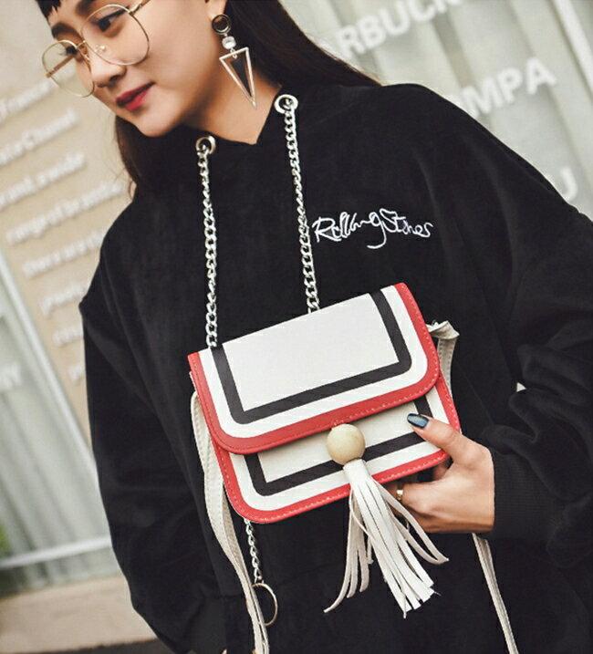 50%OFF SHOP【RA021789B】新款韓版時尚潮女包百搭撞色流蘇單肩包小方包休閒斜跨小包包