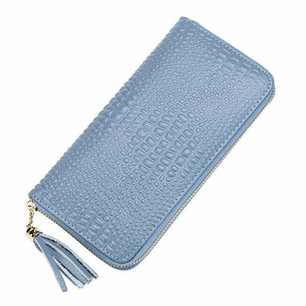 BOBI:長夾鱷魚紋皮拉鍊潮卡包錢包手拿包長夾【CLA035】BOBI0104