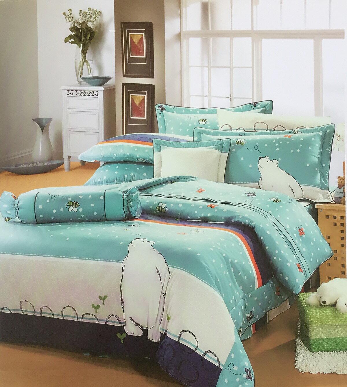 米粒爸爸@北極熊雙人夏日床包三件組 純棉 清爽