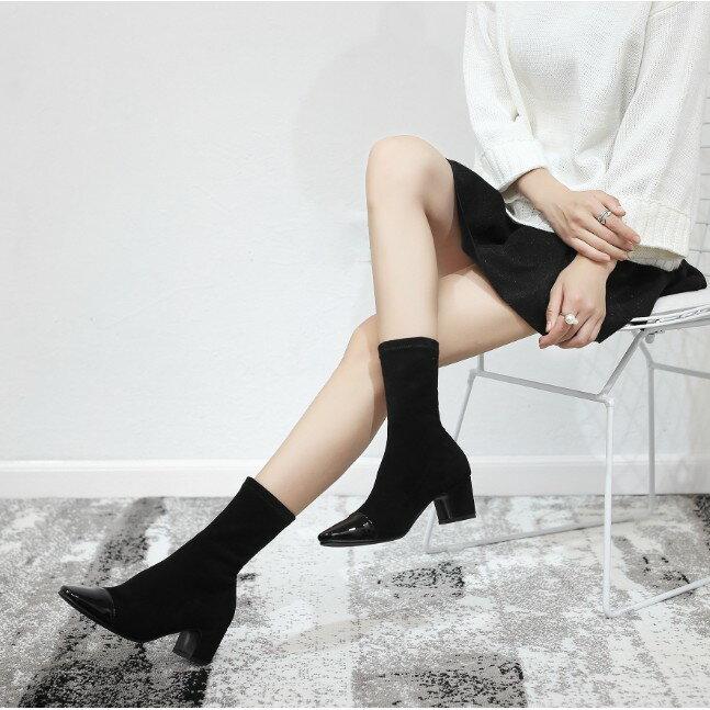 櫻桃嚴選 時尚女鞋 顯瘦彈力靴子 短靴 女靴 粗跟方頭絨面短靴 鬆緊英倫馬丁靴 小碼鞋
