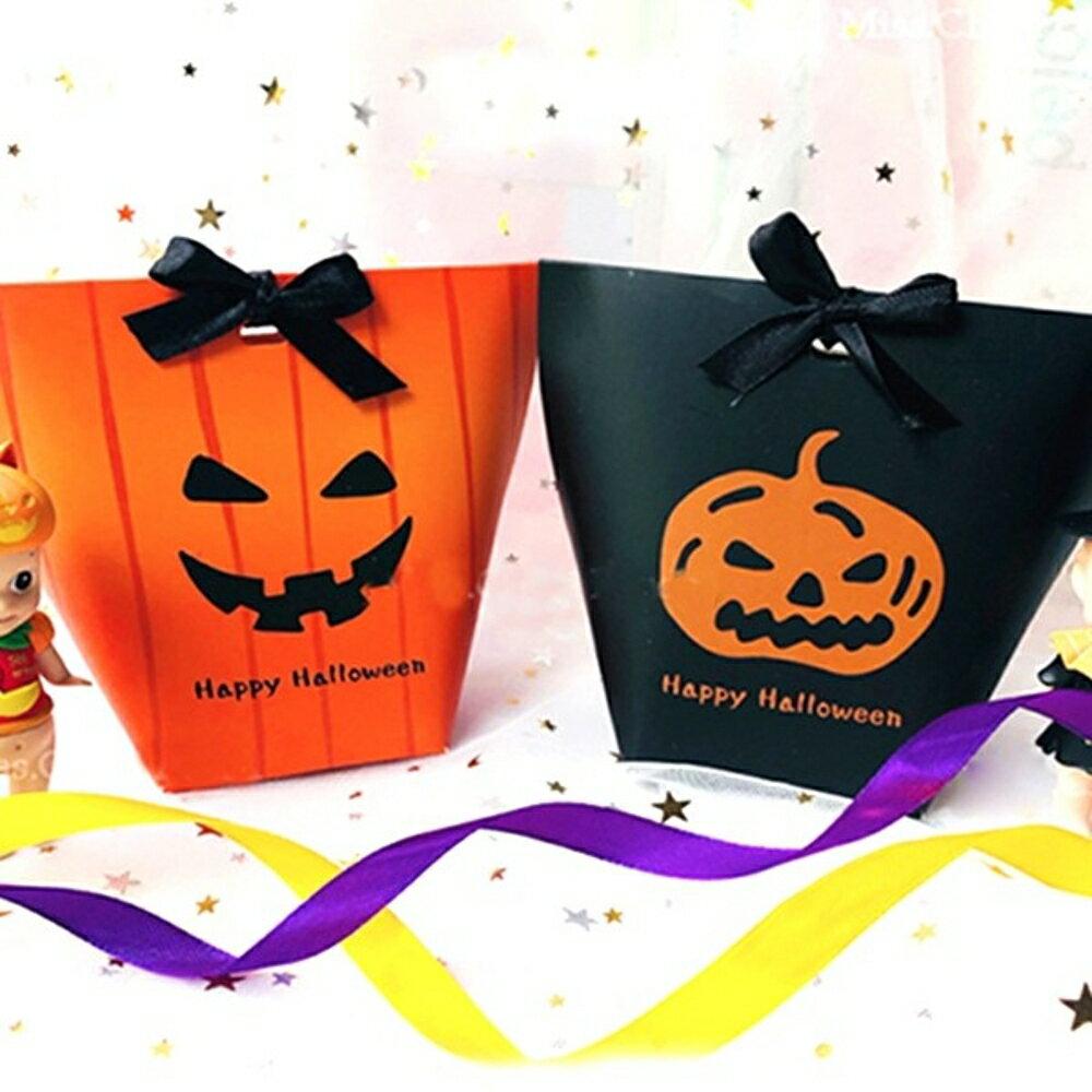 Happy Halloween 橘色直線條恐怖表情 禮物盒 餅乾盒 西點盒 糖果盒【BlueCat】【HW0065】
