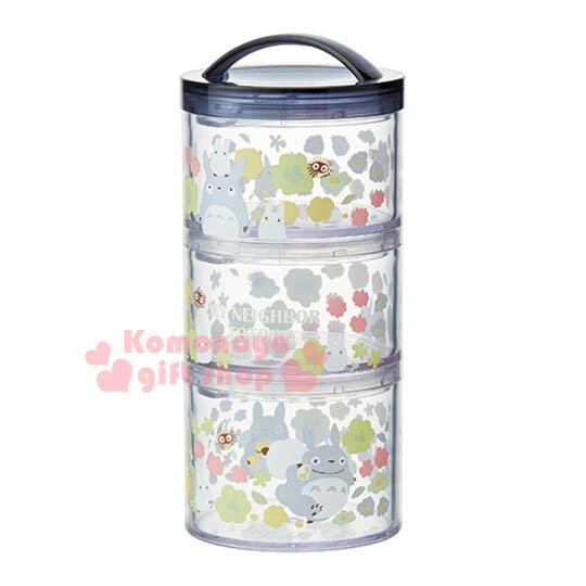 〔小禮堂〕宮崎駿 Totoro 龍貓 日製三層便當盒《圓筒型.深藍.小花.可提》花園系列