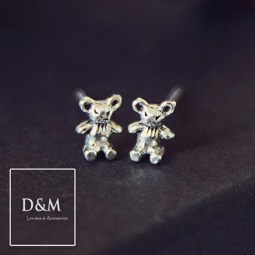 純銀手作耳環 惡搞泰迪熊 925 Silver 耳針後釦式 米老鼠 生日禮物 D&M Shop【A00023】