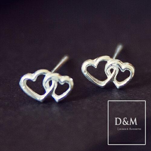 心心相映 純銀針式耳環 925 Silver D  M Shop~A00024~