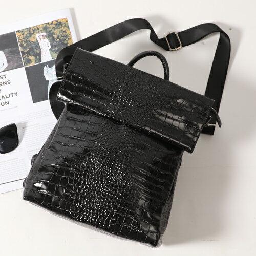 韓國ensoen真皮鱷魚紋後背包斜背包3用D&M Shop 正韓劇男女書包側背包【B11112】