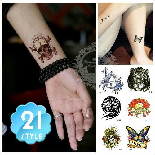 紋身刺青轉印貼紙bd系列(21款隨機出貨)5X5cm [53200]