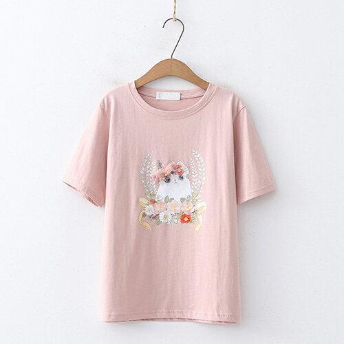 釘珠花朵印花圓領短袖T恤(4色F碼)【OREAD】 0