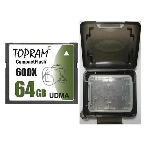 TOPRAM 64GB CF 64G CompactFlash Card 600X Extreme Speed UDMA 6 RAW with Multifunction Memory Protective Case 0