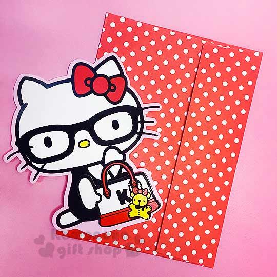 〔小禮堂〕Kitty 造型萬用卡片《紅.側坐.戴眼鏡.手提包》可立.附信封
