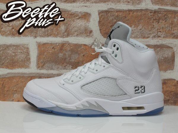 男生BEETLE NIKE AIR JORDAN 5 RETRO 喬丹 AJ5 冰底 白銀 籃球鞋 136027-130