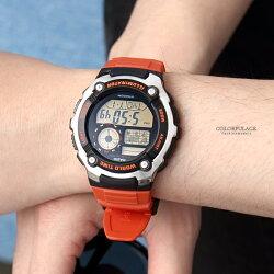 CASIO卡西歐世界時間亮橘膠錶【NEC62】柒彩年代
